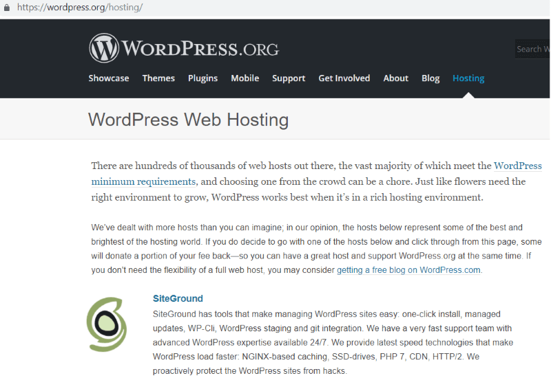 wordpress recommended hosting siteground